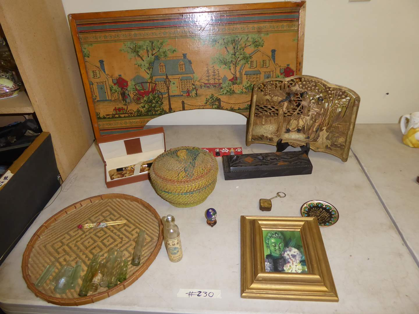 Lot # 230 - Antique Bed Tray Circa:1915, Original Oil Painting, Snuff Bottle & Chinese Medicine Bottles  (main image)