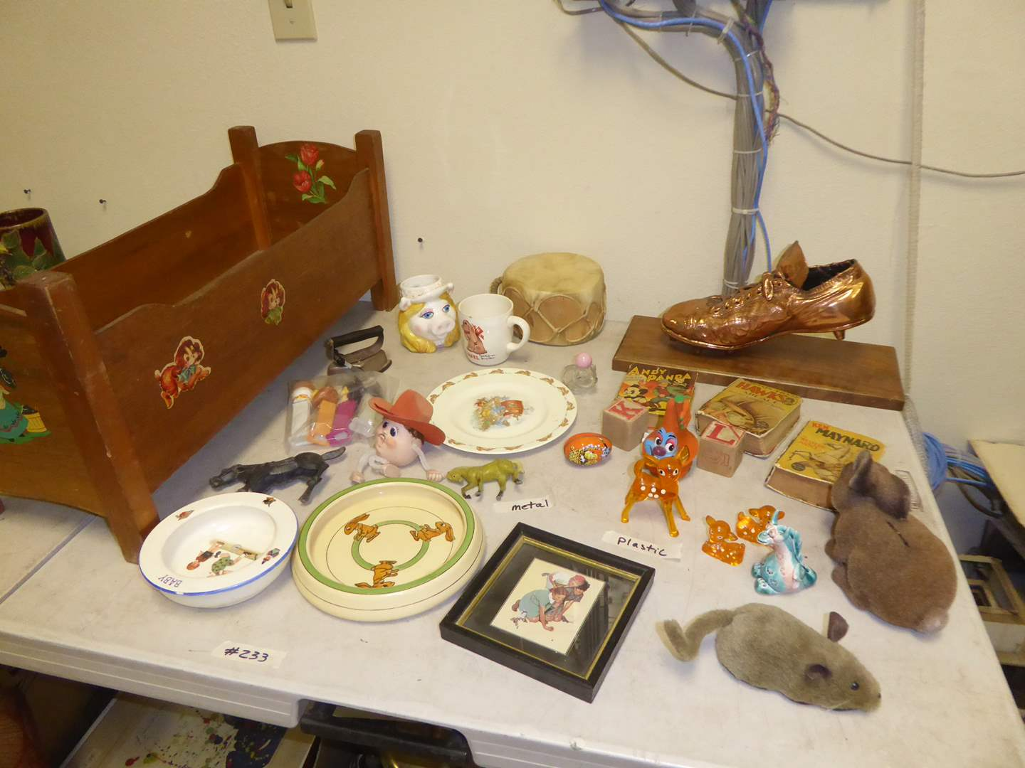 Lot # 233 - Vintage Toys, Sad Iron, Doll Bed & Collectibles  (main image)