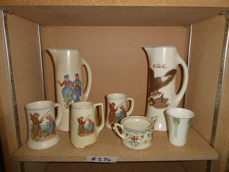 Lot # 236 - Vintage Tankard Pitchers & Transferware Mugs   (main image)
