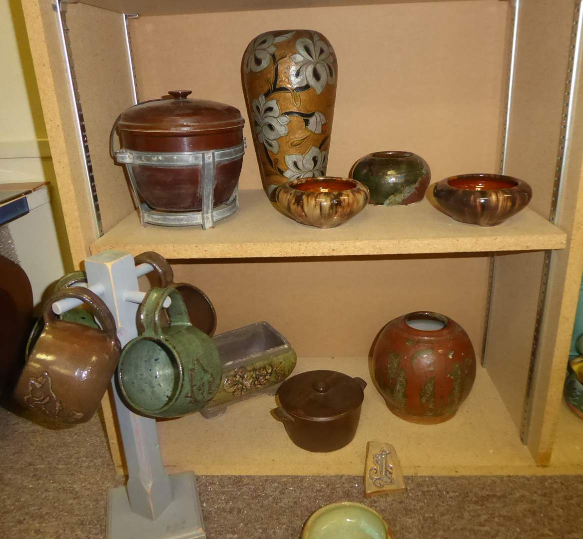 Lot # 238 - Brass Vase, Pottery Mugs, Bowls & Bean Pot   (main image)