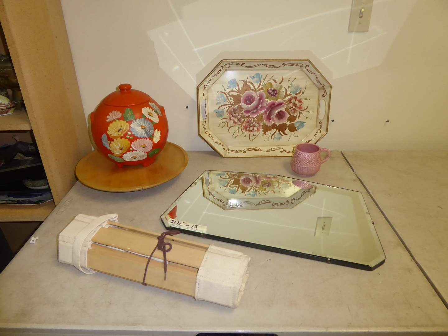 Lot # 243 - Vintage Mirror, Lidded Floral Pot, Metal Tray & Lazy Susan  (main image)