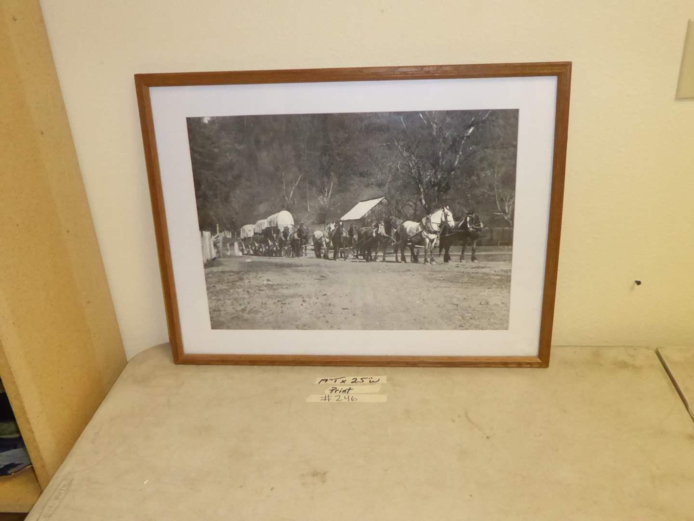 "Lot # 246 - Framed Print (12 Horse Freight ""Schooner"") Centerville Near Redding Circa: 1913 (main image)"