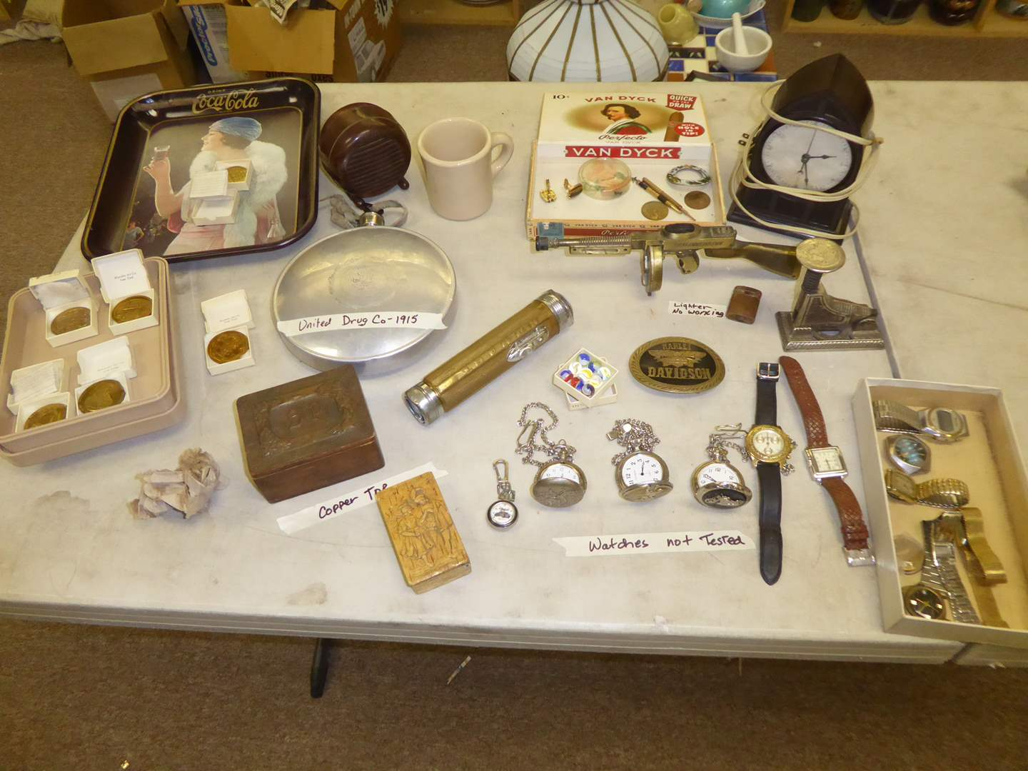 Lot # 251 - Vintage Collectibles - Antique Hot water Bottle, Watches, Hula Wiggle Girl & Coins  (main image)