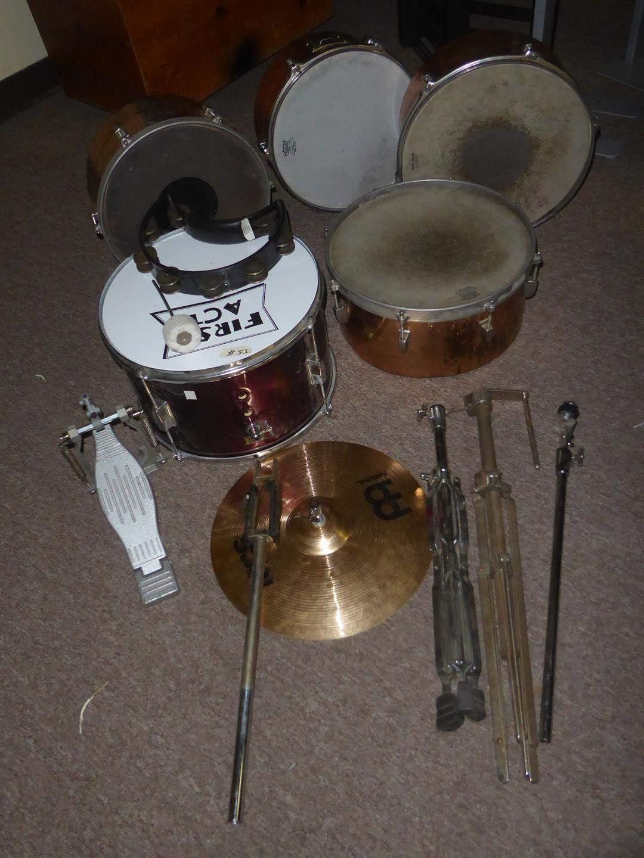 Lot # 53 - Assorted Drums & Rhythm Tech Tambourine (main image)