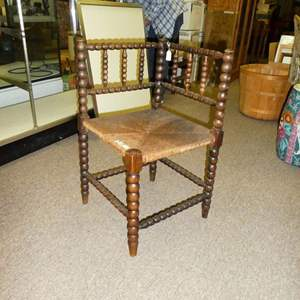 Auction Thumbnail for: Lot # 110 - Vintage Corner Chair w/ Woven Rush Seat