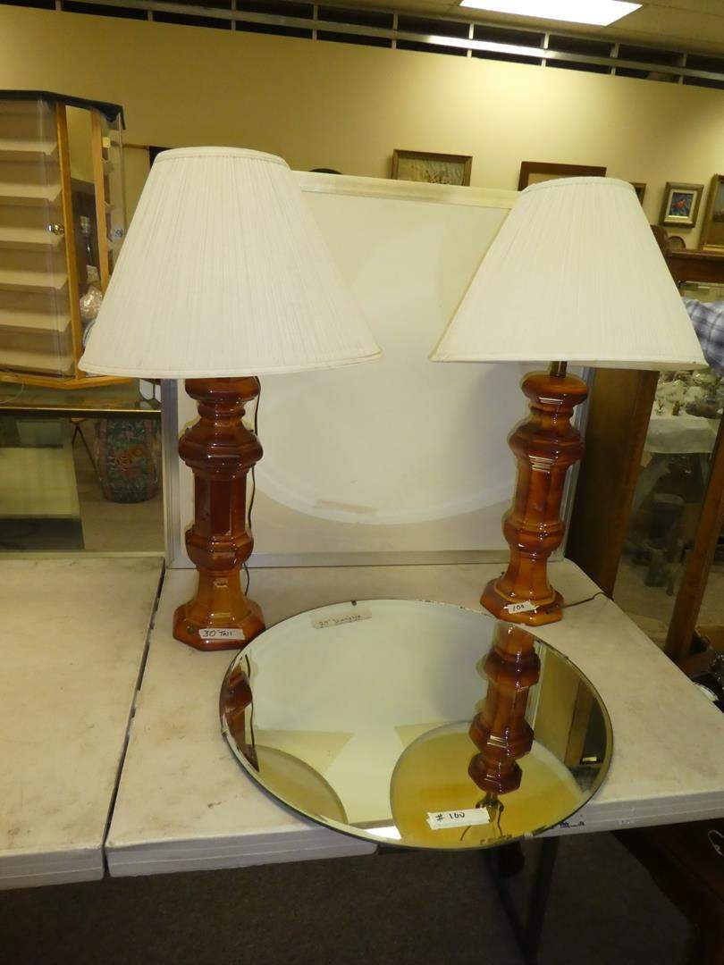 Lot # 100 - 2 Vintage Ceramic Lamp & Round Mirror (main image)