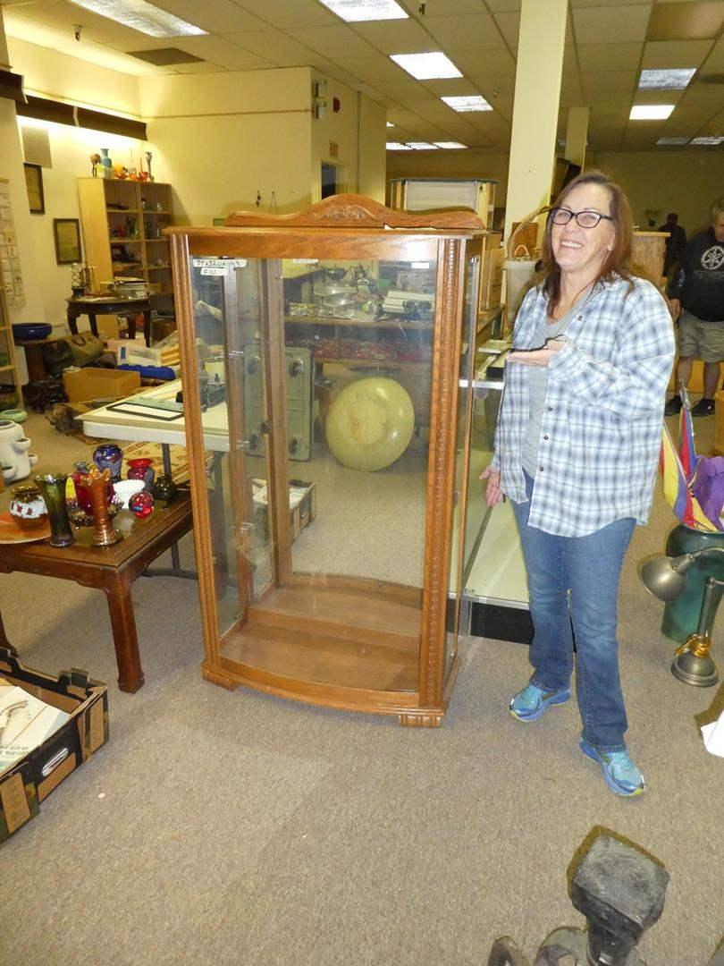 Lot # 103 -Oak Curio Display Cabinet  (main image)