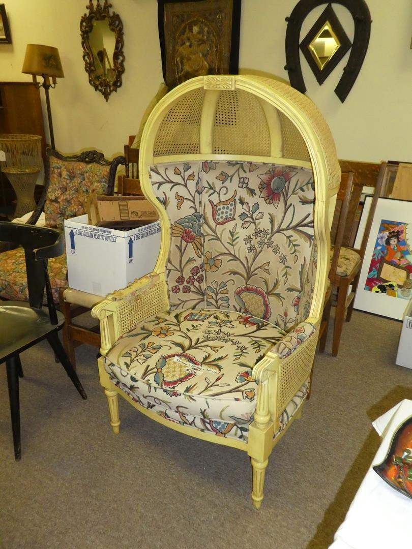 Lot # 106 - Vintage Balloon/Canopy Caned Chair  (main image)