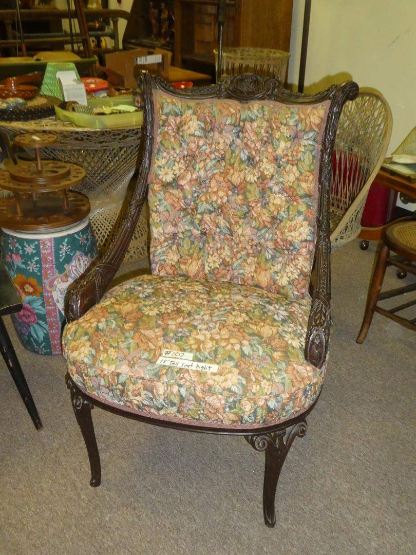 Lot # 107 - Vintage Carved Arm Chair - Nice Upholstery  (main image)