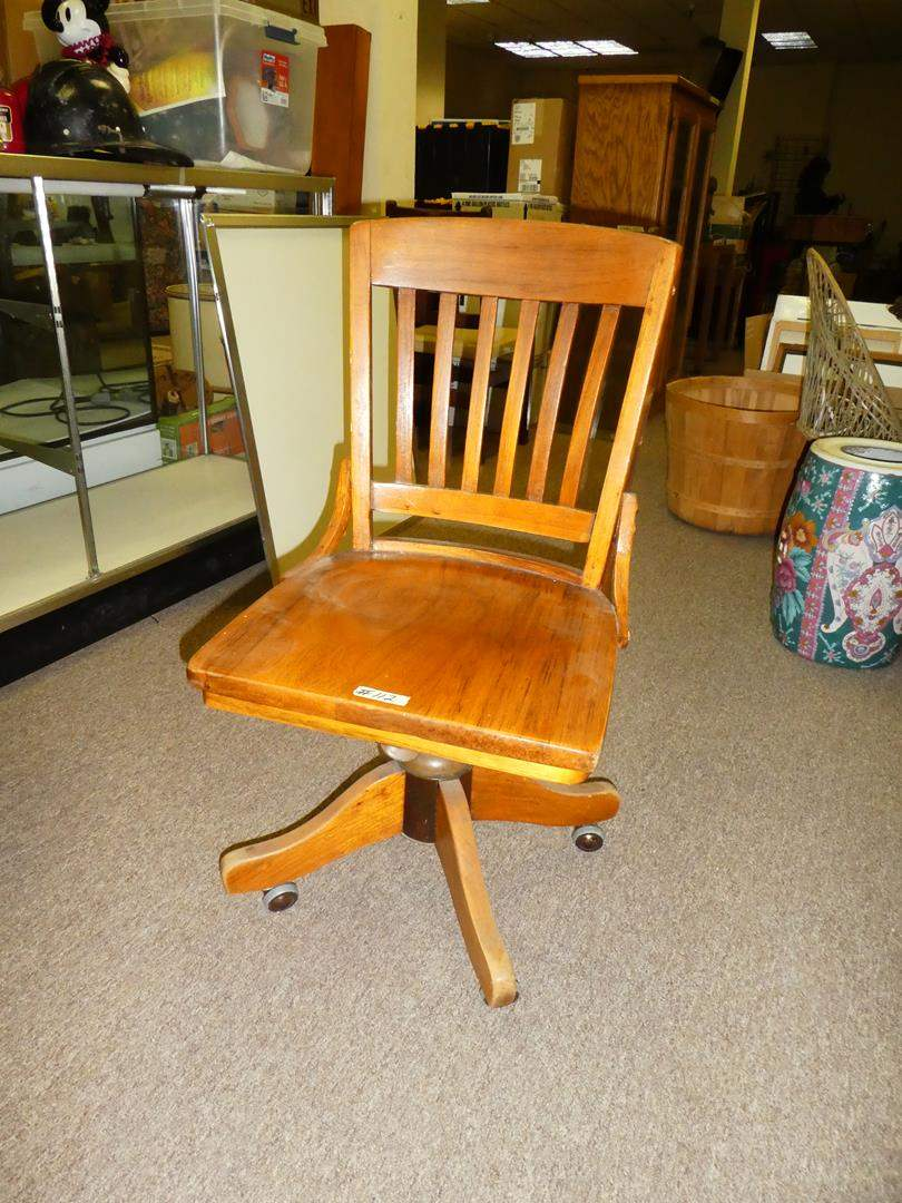 Lot # 112 - Solid Wood Industrial Office Chair (main image)