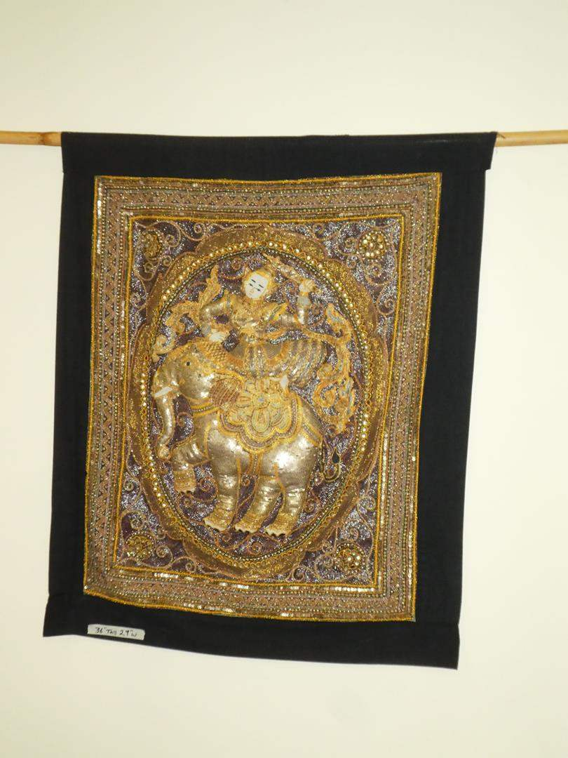 Lot # 114 - Vintage Asian Siamese Thai Style Silk Wall Hanging (main image)