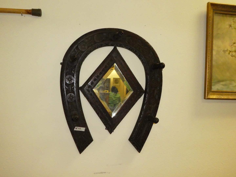 "Lot # 116 - Vintage Carved Wood ""HorseShoe"" Wall Mount Coat/Hat Rack (main image)"