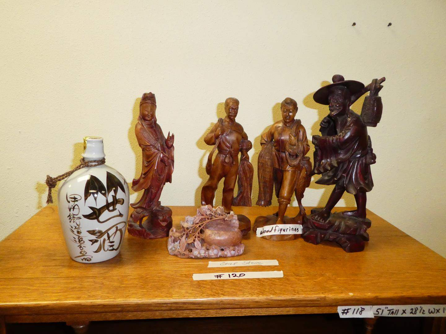 Lot # 120 - Vintage Carved Wood Asian Figures & Soap Stone Carving  (main image)