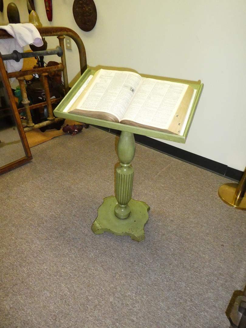 Lot # 123 - Painted Green Antique Book/Music Podium  (main image)