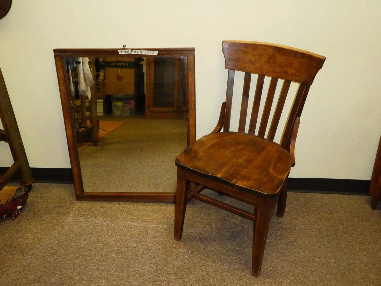 Lot # 125 - Vintage Wood Mirror & Heywood & Wakefield Chair (main image)