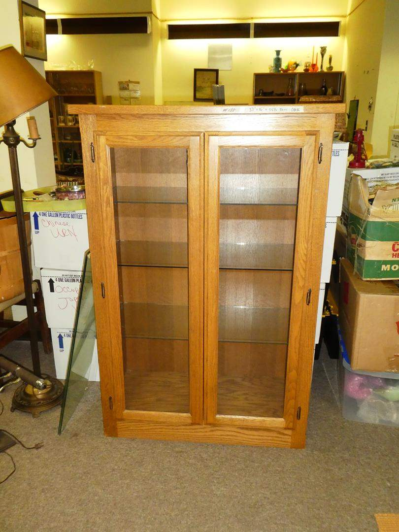 Lot # 128 - Nice Wood Display Cabinet w/ Glass Shelves (main image)
