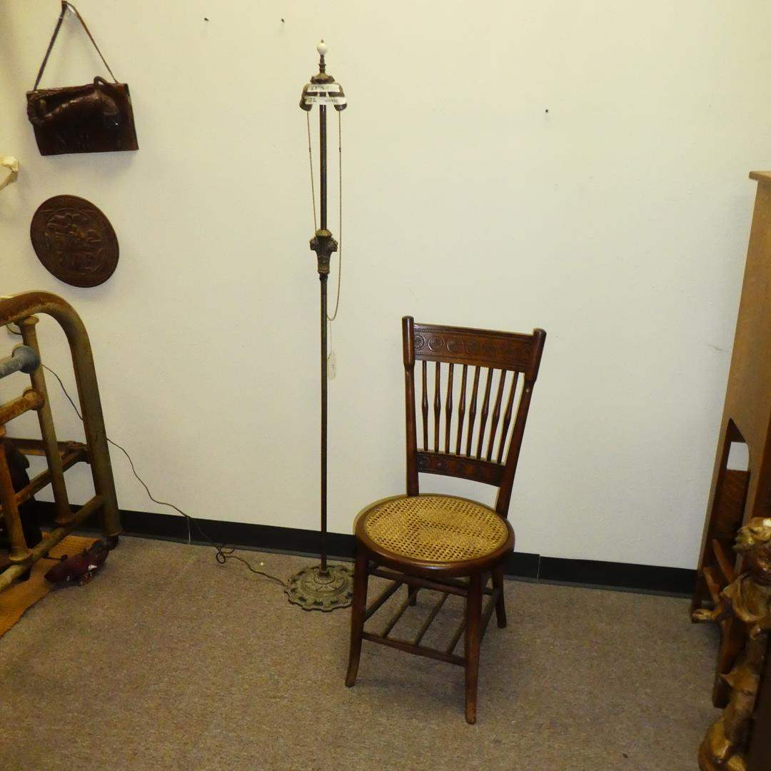Lot # 132 - Antique pole Lamp (Working) & Cane Seat Chair (main image)