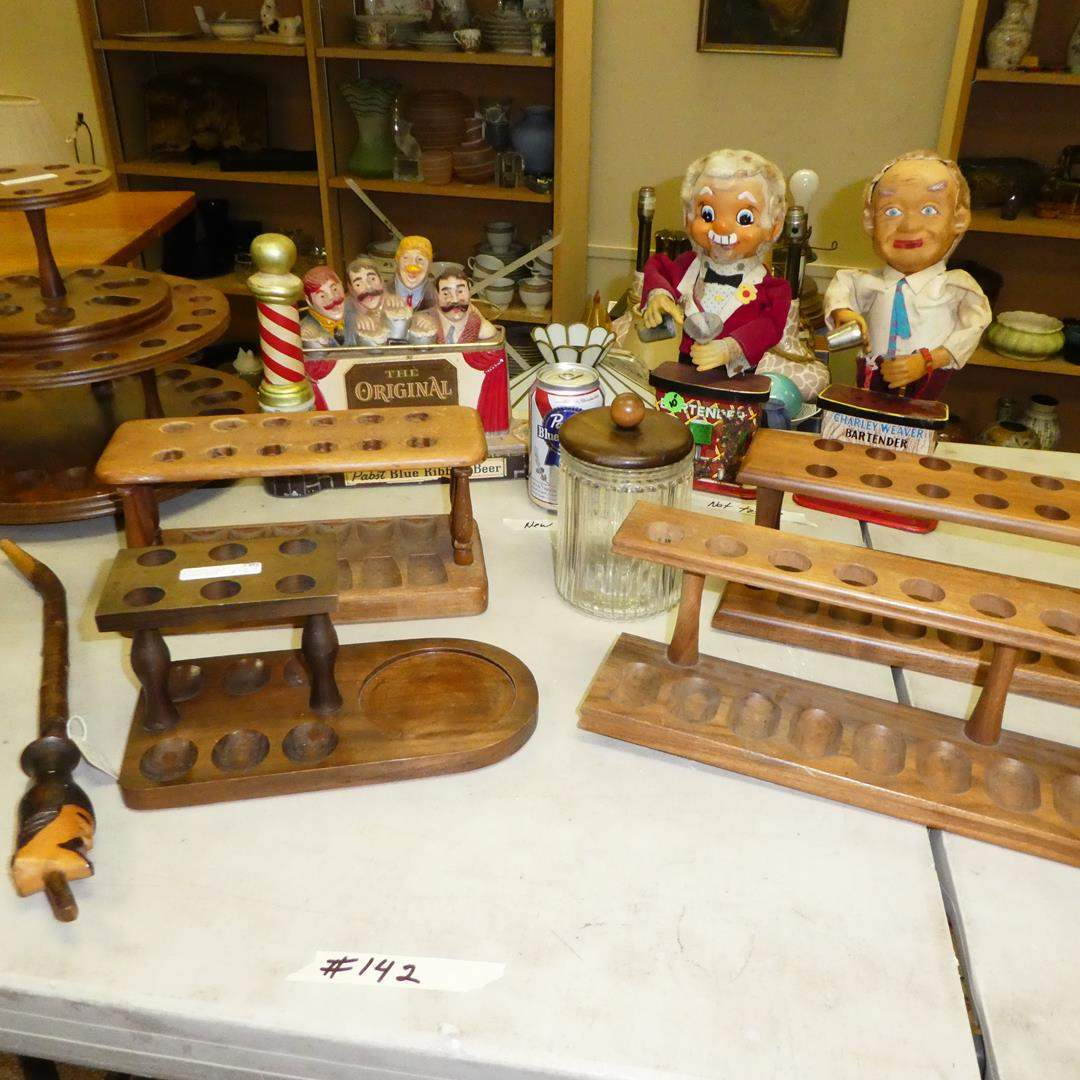 Lot # 142 - Vintage Wood Tobacco Pipe Holders & Barware (main image)