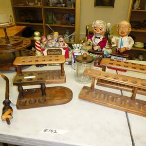 Auction Thumbnail for: Lot # 142 - Vintage Wood Tobacco Pipe Holders & Barware