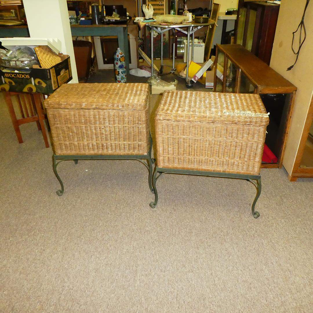 Lot # 147 - 2 Matching Wicker Storage Side Tables w/ Metal Base (main image)