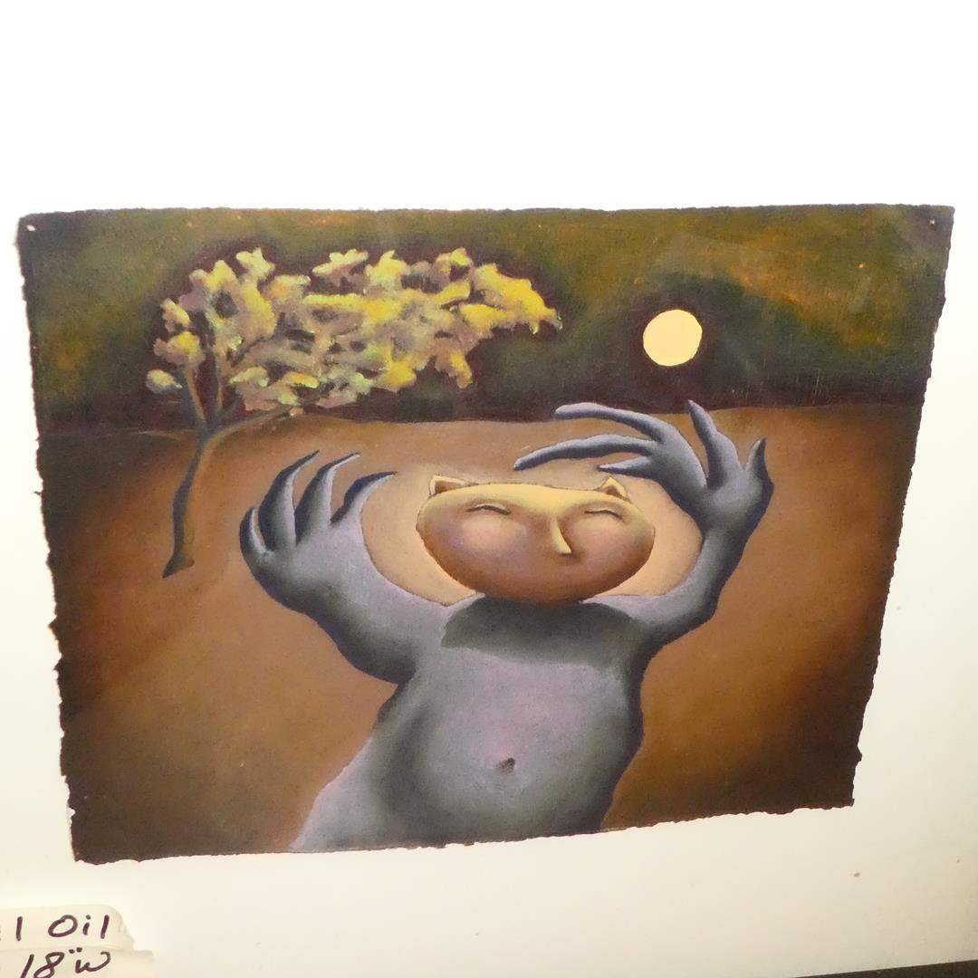 "Lot # 153 - Original Oil on Paper by ""Christine Brennan"" Surrealism Artist (main image)"