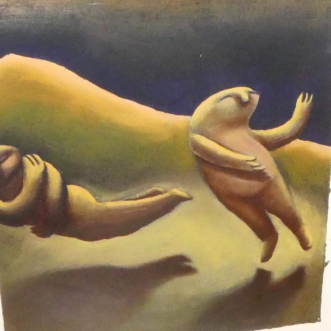 "Lot # 154 - Original Oil on Paper by ""Christine Brennan"" Surrealism Artist (main image)"