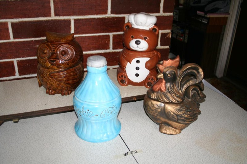 Lot #32 - Cola Bottle, Teddy Bear, Owl & Rooster Cookie Jars (main image)