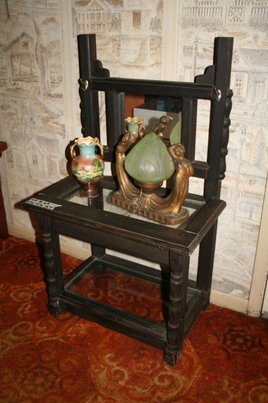 Lot #69 - Art Deco Period Swooning Lady Lamp, Japanese Vase and Vanity Chair  (main image)