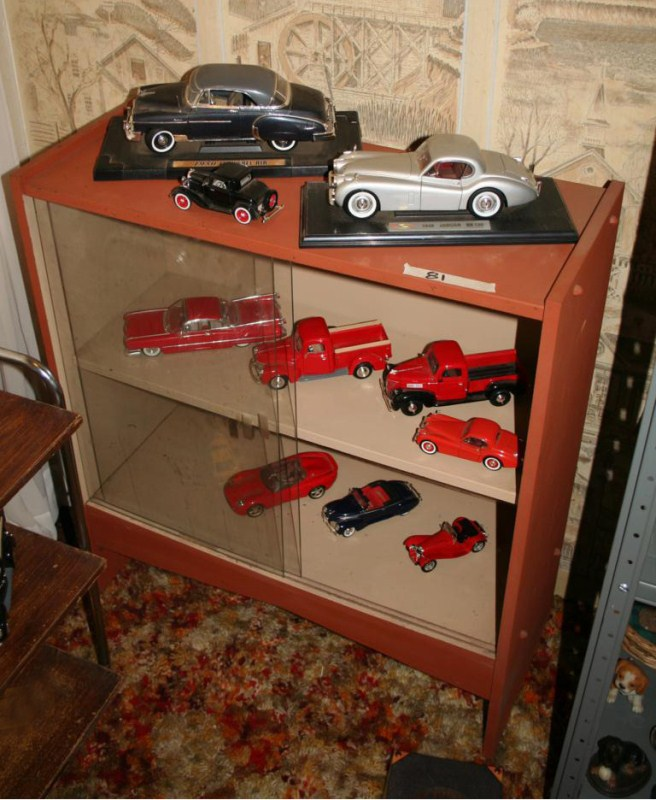 Lot #81 - Diecase Cars & Trucks with Lawyers Bookcase/Display (main image)