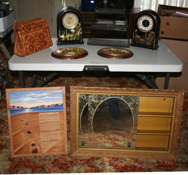 Lot #103 - Vintage Bathroom Recessed Medicine Cabinet, Pair of Clocks, Leather Purse ... (main image)