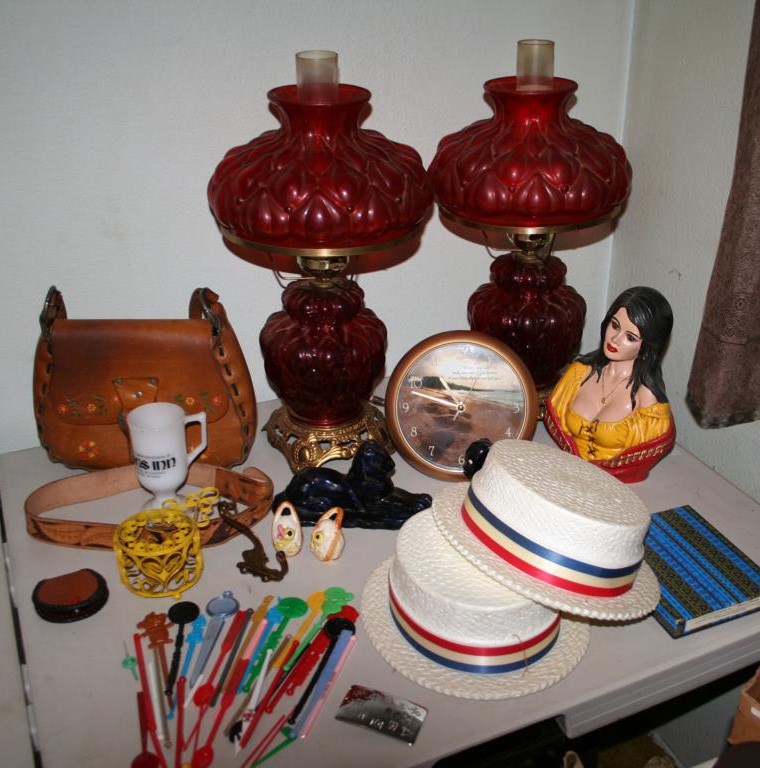 Lot #108 - Pair of Vintage Parlor Lamps ~Ruby Red~, Swizzle Stick Collection ...... (main image)