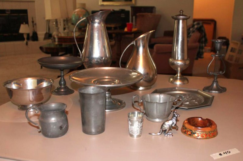 Lot #40 ~ Collection of Vintage Pewter - Pitchers, Candlestick, Footed Bowls ...... (main image)