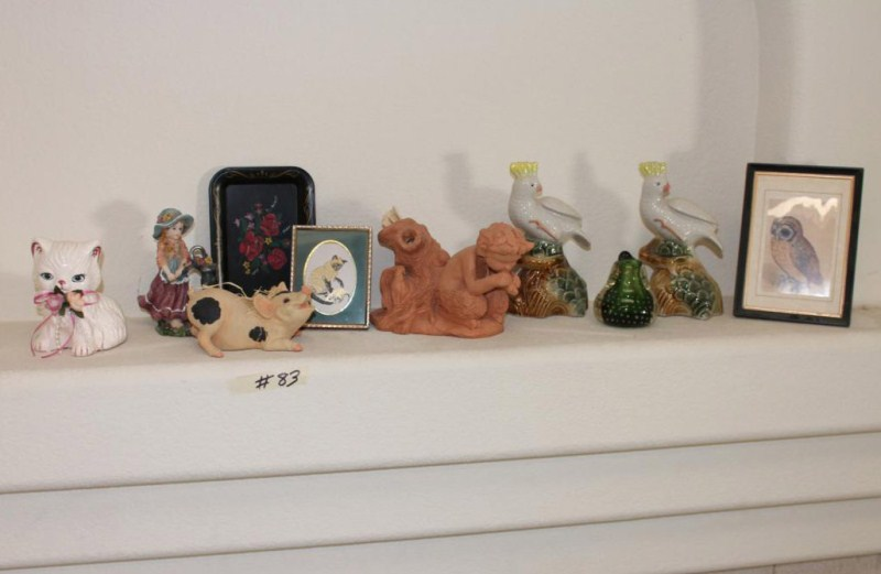 Lot #83 ~ Collectible Cockatoo Figurines, Clay Sculpture of Mythical Pan, Knick Knacks (main image)