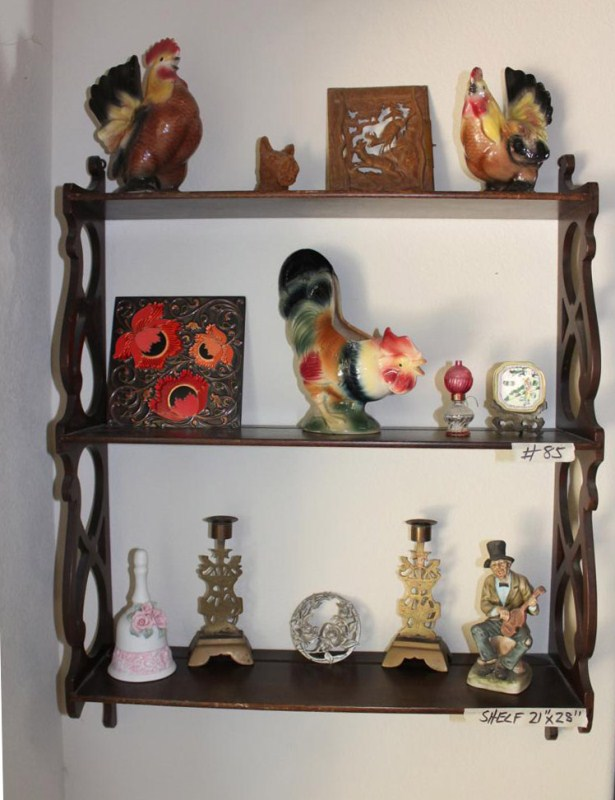 Lot #85 ~ Display Shelf with Collectibles: Royal Copley, Carved Panel, Tile ... (main image)