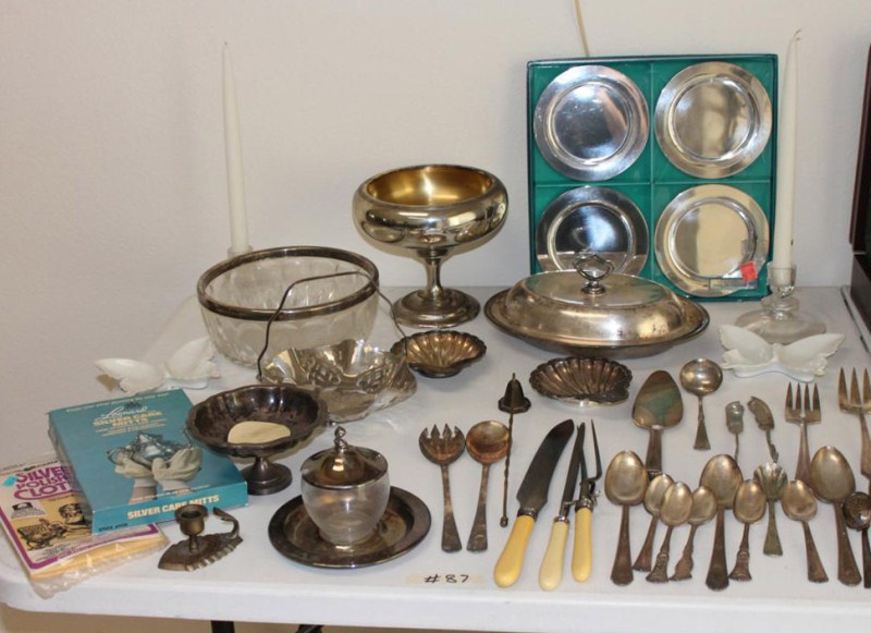 Lot #87 ~ Large Lot of Silverplate ~ Flatware & Serving Dishes (main image)