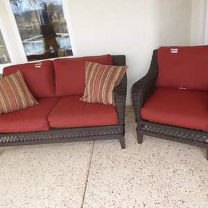 Auction Thumbnail for: Lot # 202 - Quality Wire Wrapped Wicker Style Loveseat & Matching Chair