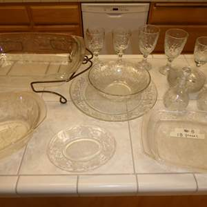 Auction Thumbnail for:  Lot # 8 -  Floral Patterned Clear Glass Dishes (18 Pcs)