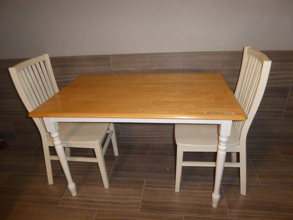 Lot # 103 - Country Style Wooden Dining Table & Two Slat Back Dining Chairs (main image)