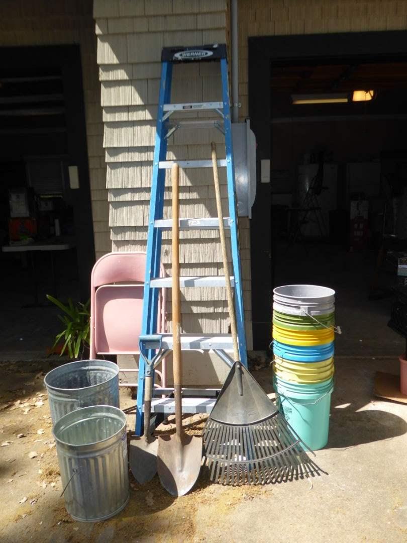 Lot # 100 - WERNER 7' Fiberglass Step Ladder, Buckets & Garden Tools  (main image)