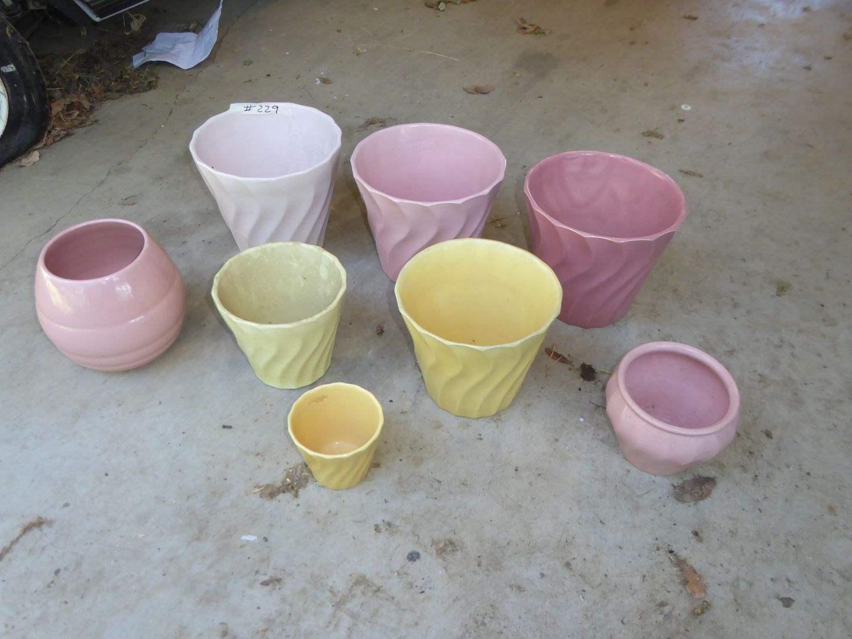 Lot # 229 - 7 Colorful Bauer Flower Pots  (main image)