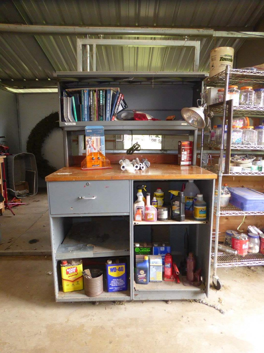 Lot # 272 - Shop Cabinet Work Table W/Items  (main image)