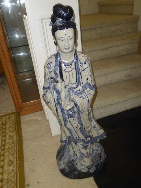 Lot # 300 - Large Heavy Stoneware Oriental Lady Statue (main image)