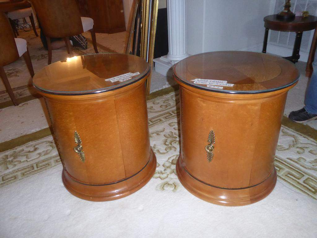 Lot # 316 - Pair Wooden Drum End Tables w/Glass Tops & Storage (main image)