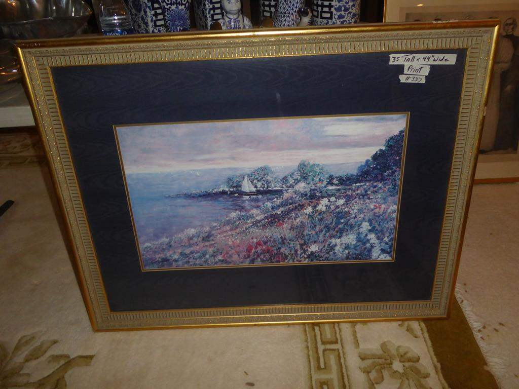 Lot # 337 - Nicely Framed Print Sailboats & Shore (main image)