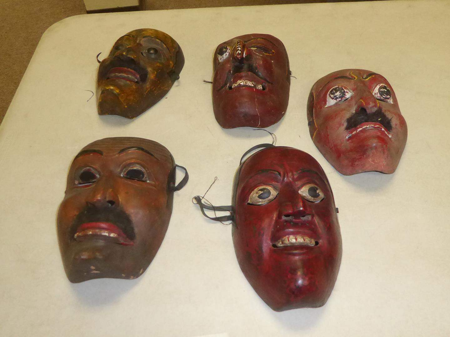 Lot # 50 - Five Vintage Hand Carved & Hand Painted Wooden Masks (main image)