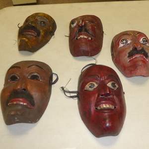 Auction Thumbnail for: Lot # 50 - Five Vintage Hand Carved & Hand Painted Wooden Masks