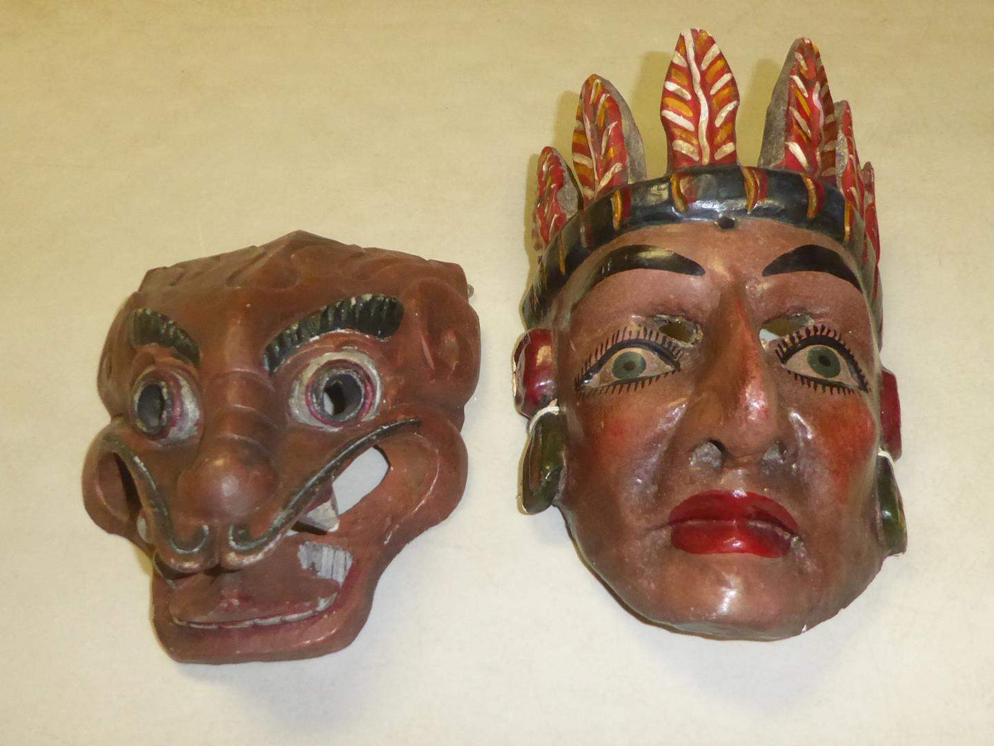 Lot # 51 - Two Vintage Hand Carved & Hand Painted Wooden Masks (main image)