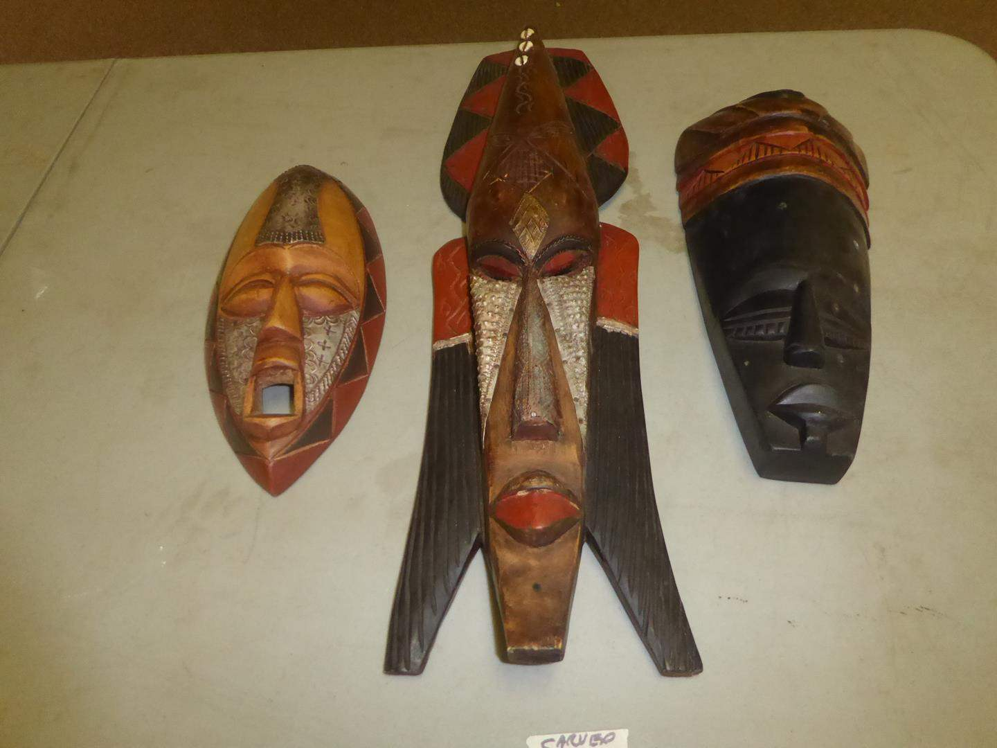 Lot # 52 - Three Vintage Handcrafted in Ghana Wooden Masks (main image)