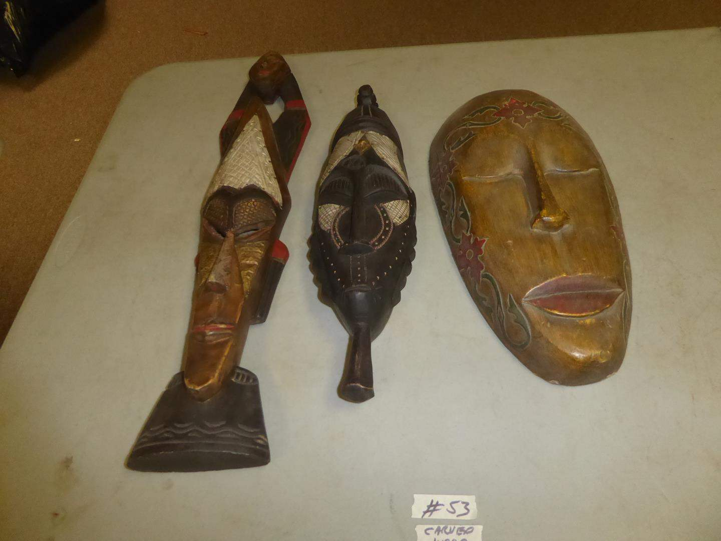 Lot # 53 - Vintage Handcrafted in Ghana Wooden Sculpture & Two Hand Painted Exotic Wall Art Wooden Faces  (main image)