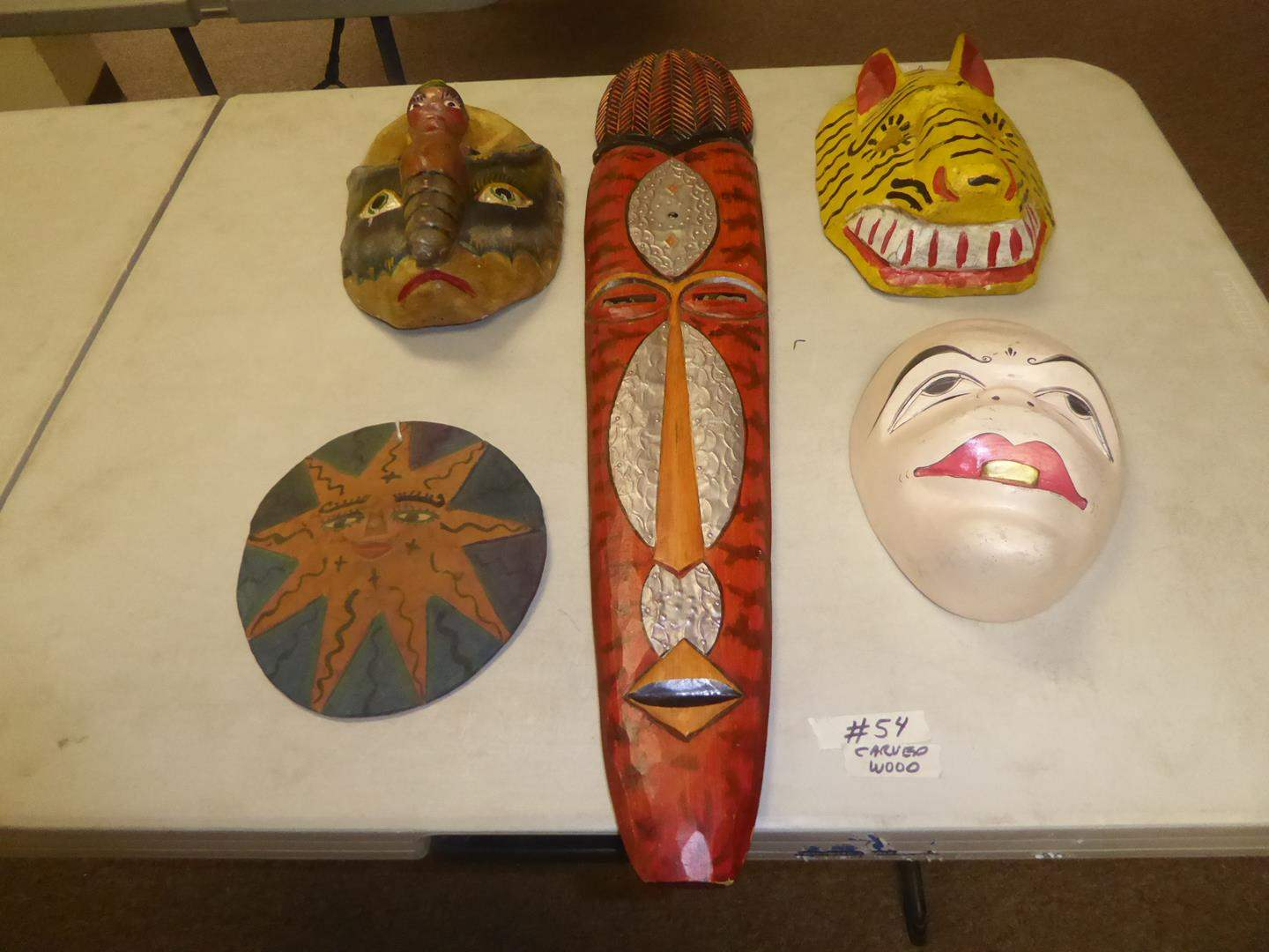 Lot # 54 - Vintage Carved Wood & Hand Painted Masks & Wall Art (main image)